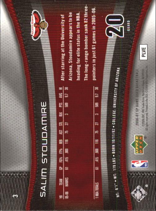 2006-07 SP Game Used #3 Salim Stoudamire back image
