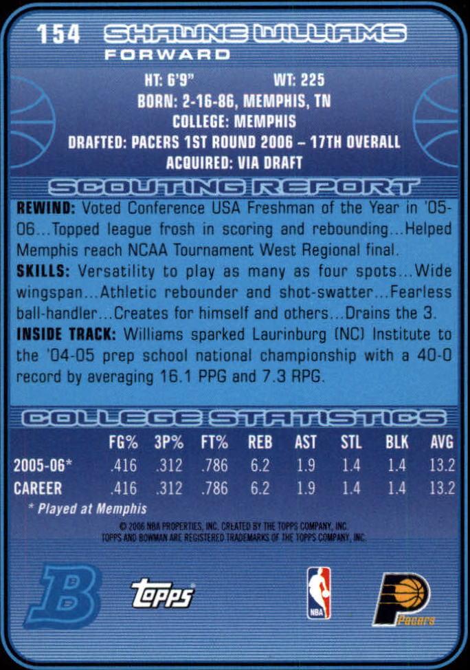 2006-07 Bowman #154 Shawne Williams RC back image