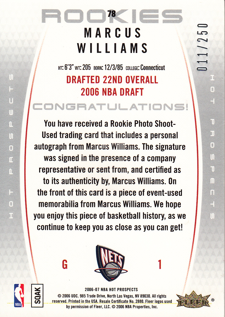2006-07 Fleer Hot Prospects #78 Marcus Williams JSY AU RC back image