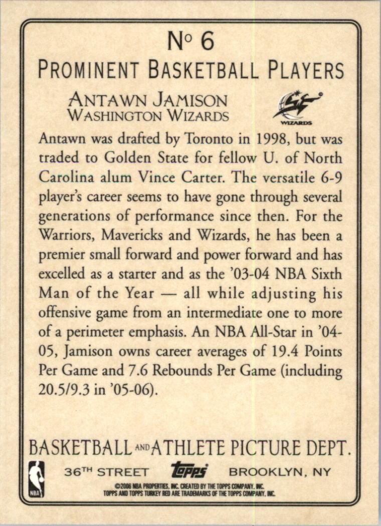 2006-07 Topps Turkey Red #6 Antawn Jamison back image