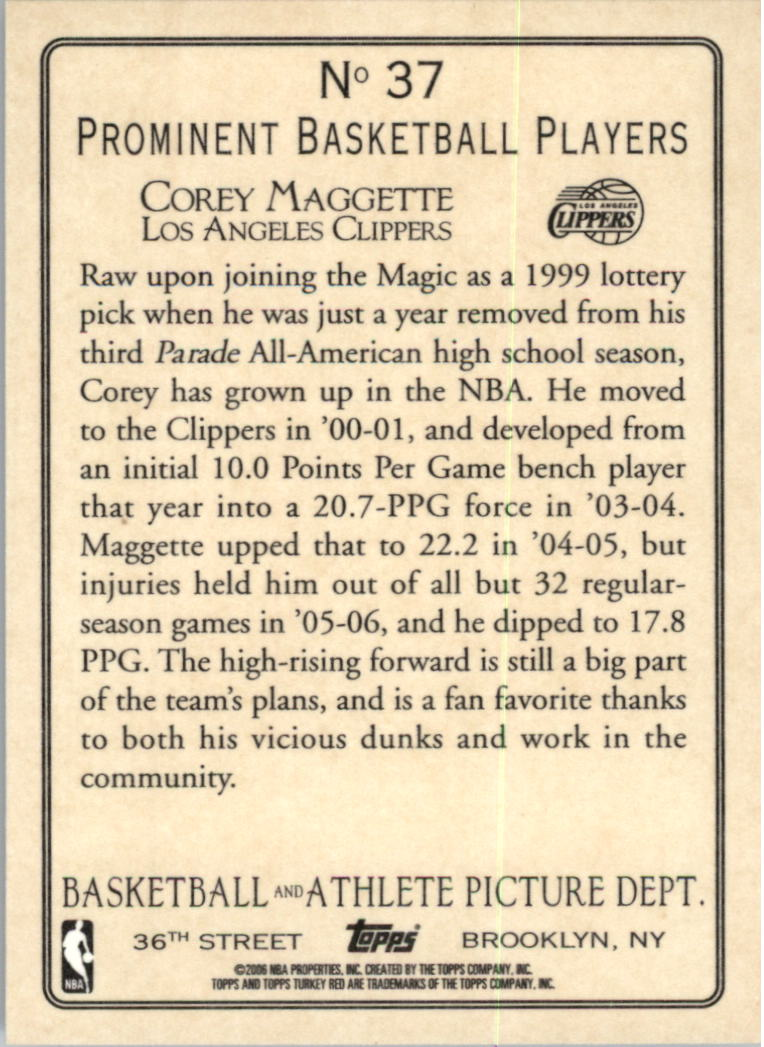 2006-07 Topps Turkey Red #37 Corey Maggette back image
