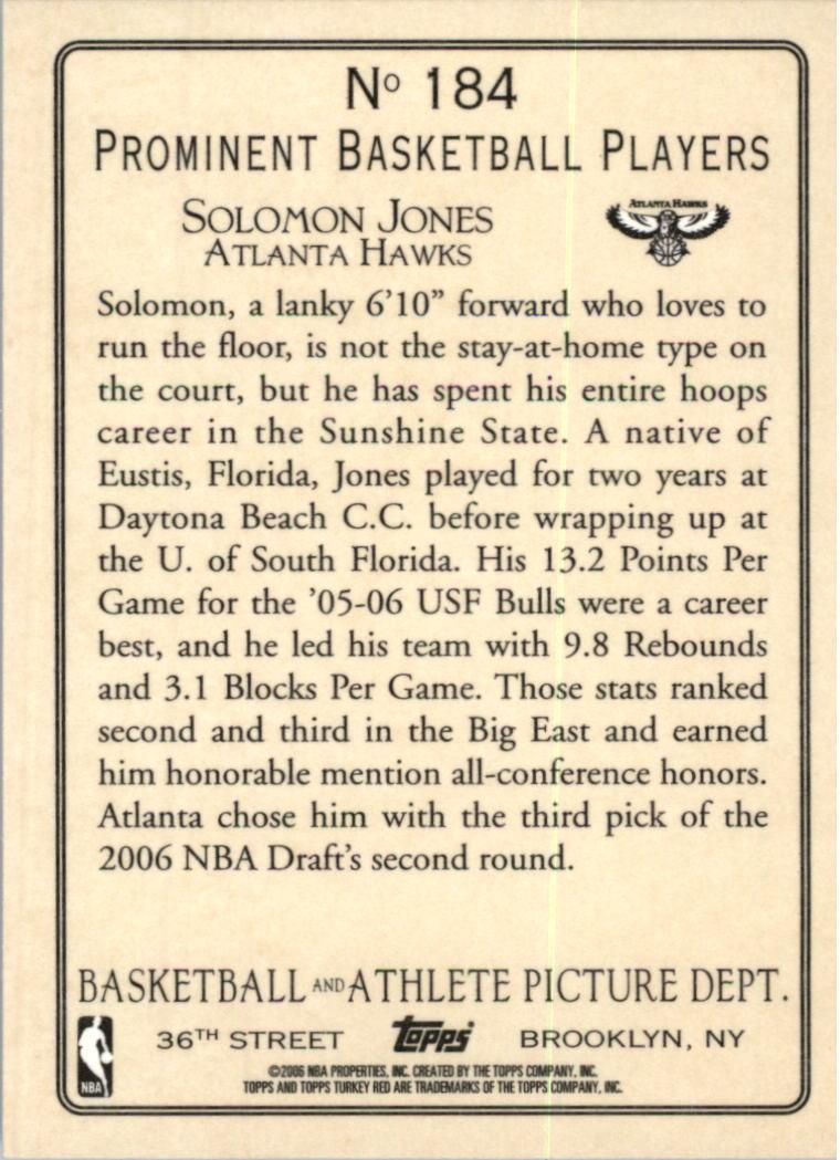 2006-07 Topps Turkey Red #184 Solomon Jones RC back image