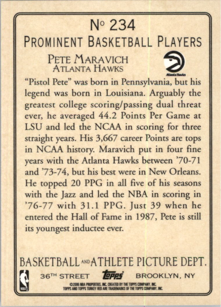 2006-07 Topps Turkey Red #234 Pete Maravich back image