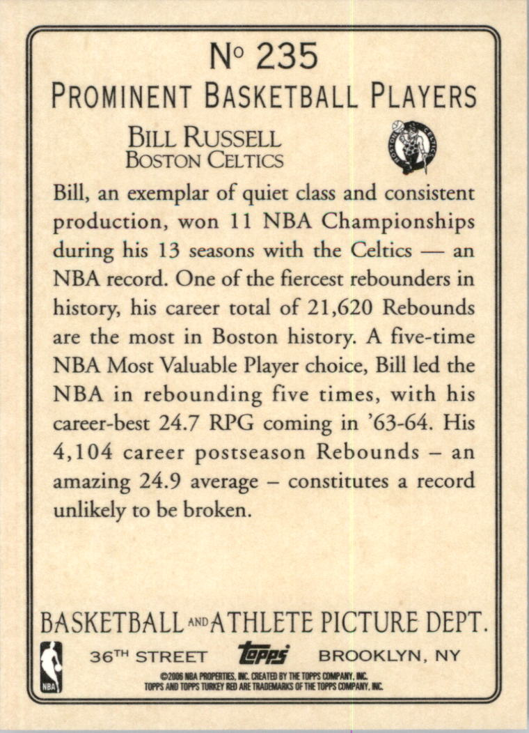 2006-07 Topps Turkey Red #235 Bill Russell back image