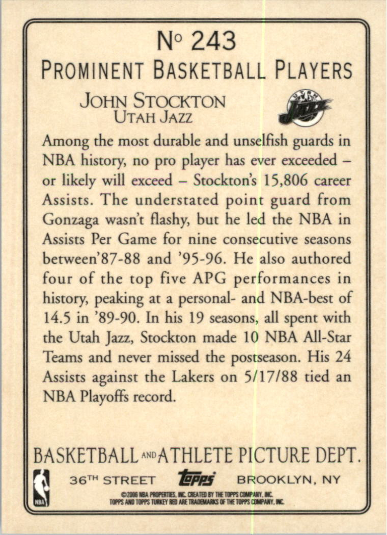 2006-07 Topps Turkey Red #243 John Stockton back image