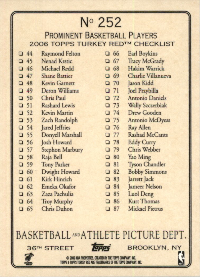 2006-07 Topps Turkey Red #252 Shaquille O'Neal CL back image