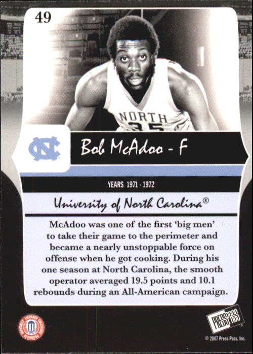 2006-07 Press Pass Legends #49 Bob McAdoo back image