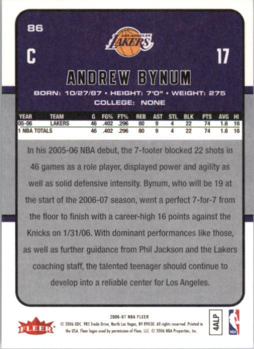 2006-07 Fleer #86 Andrew Bynum back image