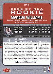 2006-07 Fleer #216 Marcus Williams RC back image