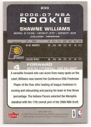 2006-07 Fleer #233 Shawne Williams RC back image