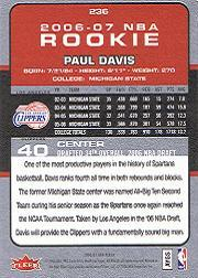 2006-07 Fleer #236 Paul Davis RC back image