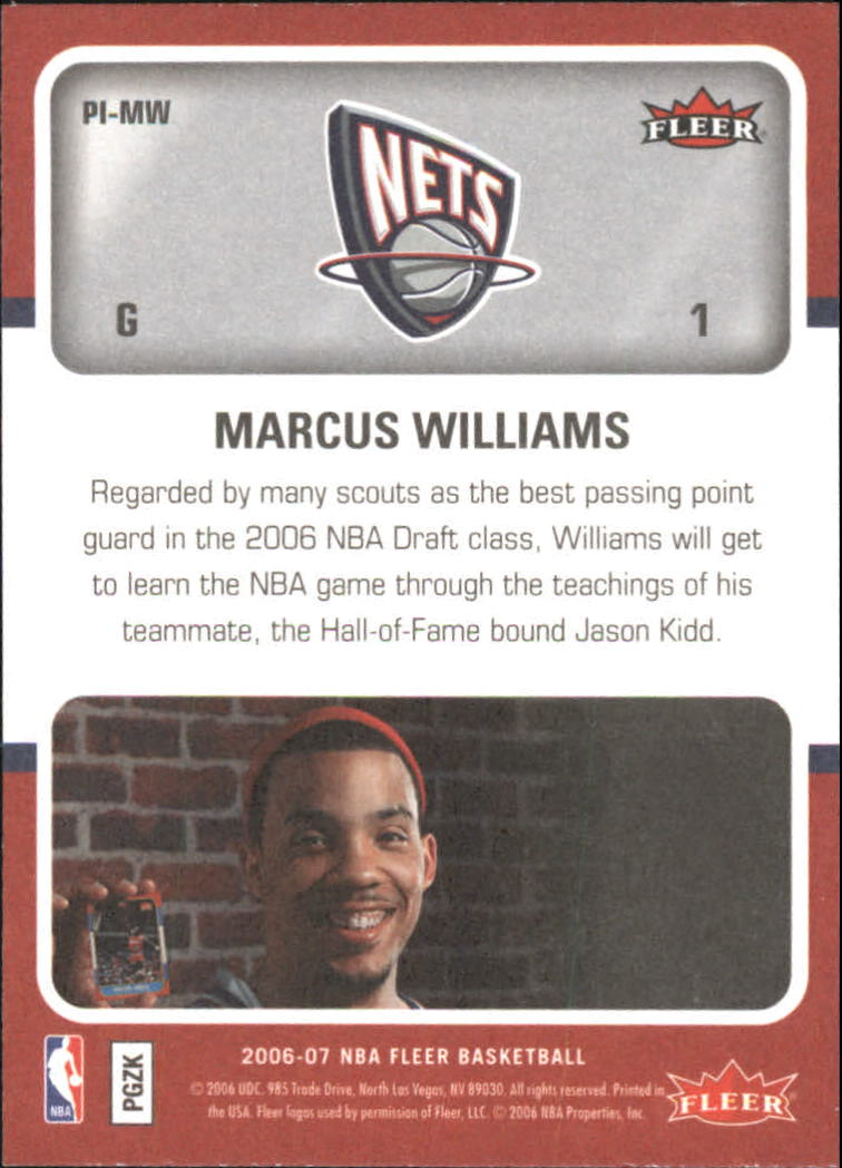 2006-07 Fleer Jordan's Platinum Influence #MW Marcus Williams back image