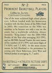 2006-07 Topps Turkey Red Red #2 LeBron James back image