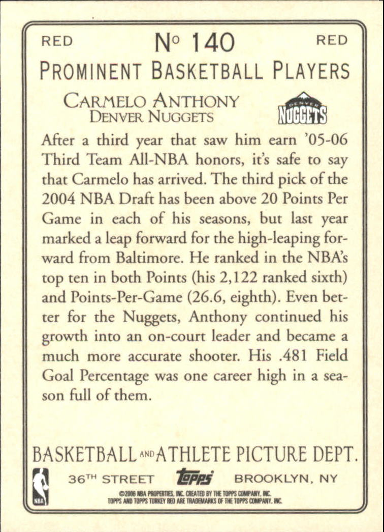 2006-07 Topps Turkey Red Red #140 Carmelo Anthony back image