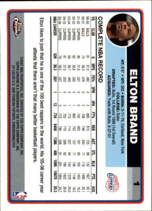 2006-07 Topps Chrome #1 Elton Brand back image
