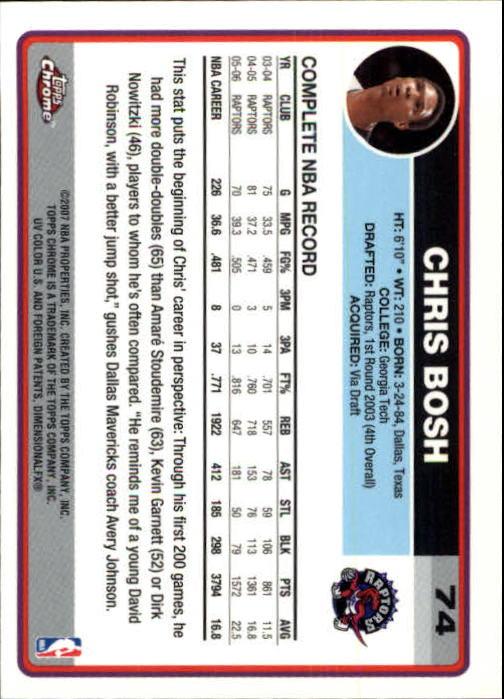 2006-07 Topps Chrome #74 Chris Bosh back image