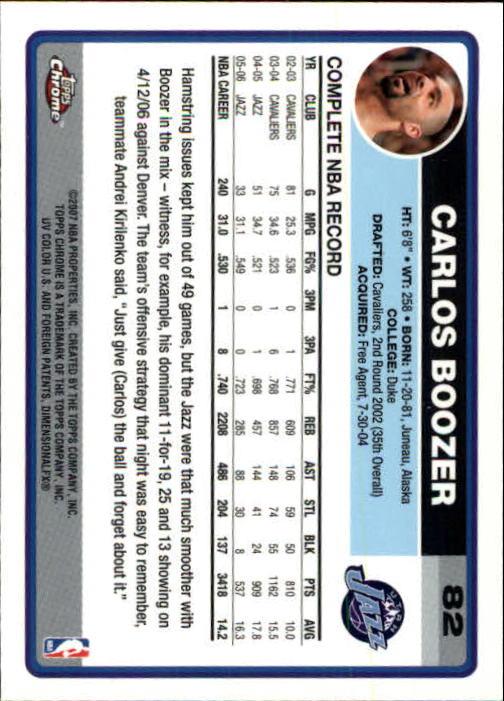 2006-07 Topps Chrome #82 Carlos Boozer back image