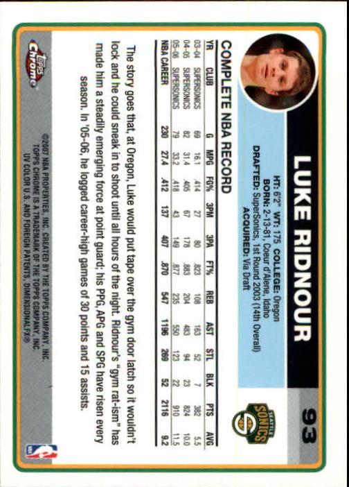 2006-07 Topps Chrome #93 Luke Ridnour back image