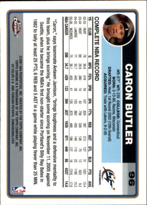 2006-07 Topps Chrome #96 Caron Butler back image