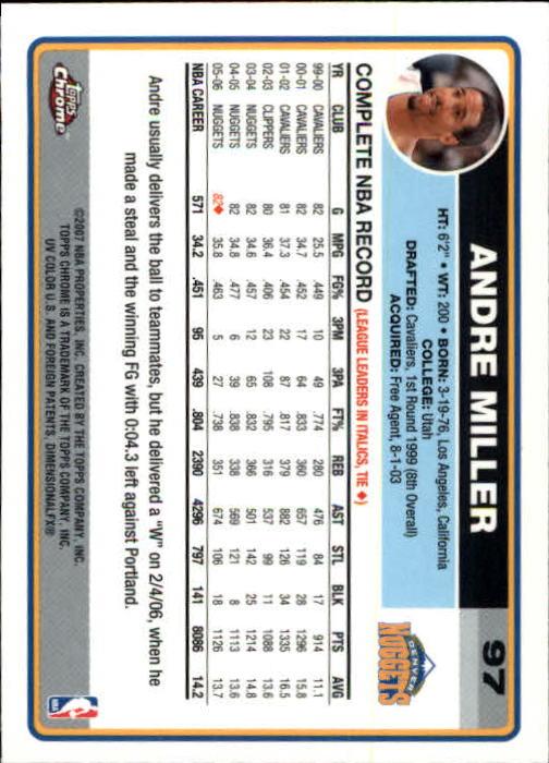 2006-07 Topps Chrome #97 Andre Miller back image
