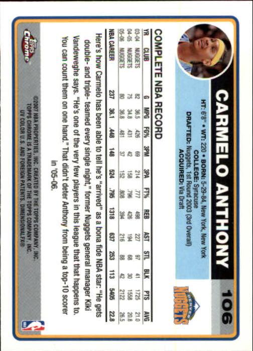 2006-07 Topps Chrome #106 Carmelo Anthony back image