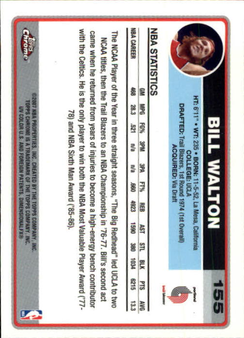 2006-07 Topps Chrome #155 Bill Walton back image