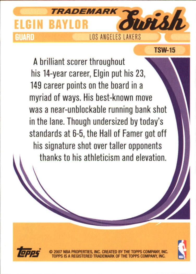 2006-07 Topps Trademark Moves Swish #TSW15 Elgin Baylor back image