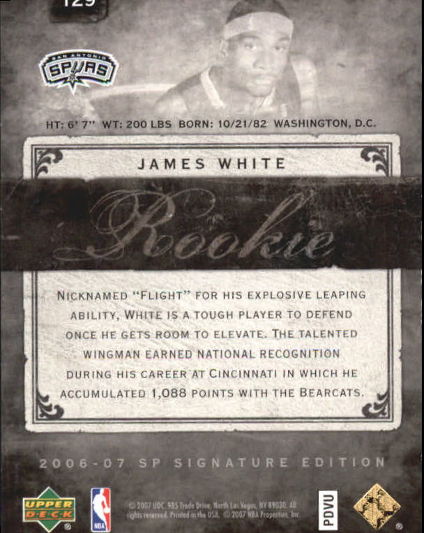 2006-07 SP Signature Edition Gold #129 James White back image