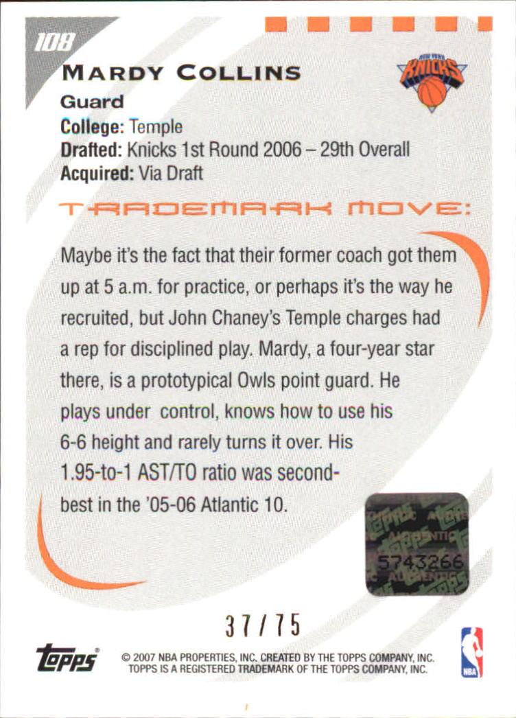 2006-07 Topps Trademark Moves Foil #108 Mardy Collins AU/75 back image
