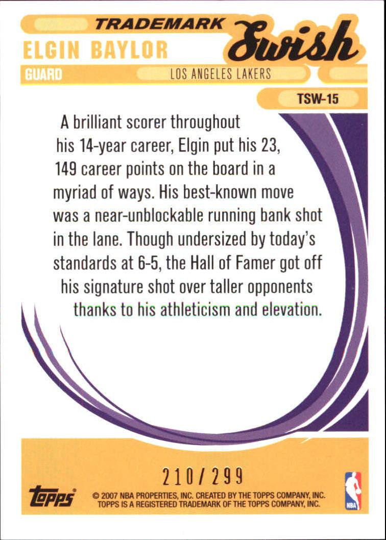 2006-07 Topps Trademark Moves Swish Foil #TSW15 Elgin Baylor back image