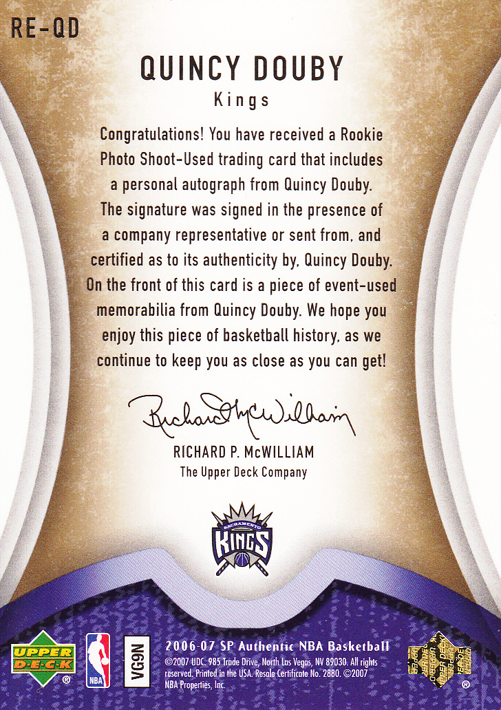 2006-07 SP Authentic Rookie Exclusives Jerseys Autographs #QD Quincy Douby back image