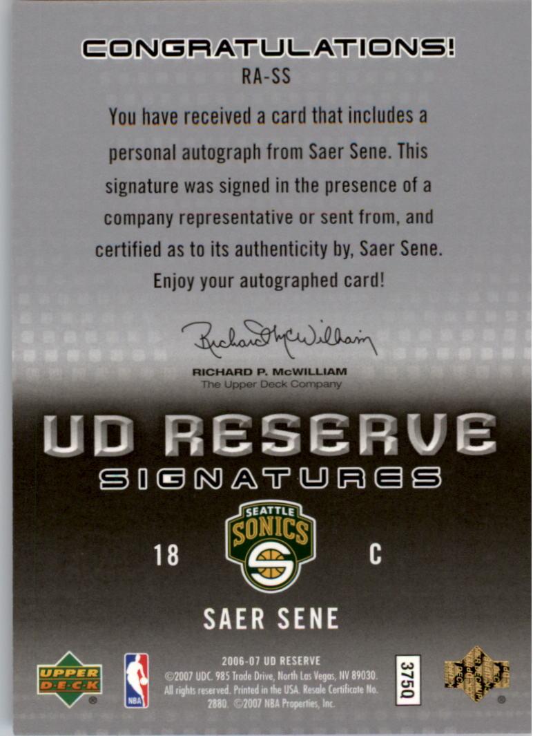 2006-07 UD Reserve Signatures #SS Saer Sene back image
