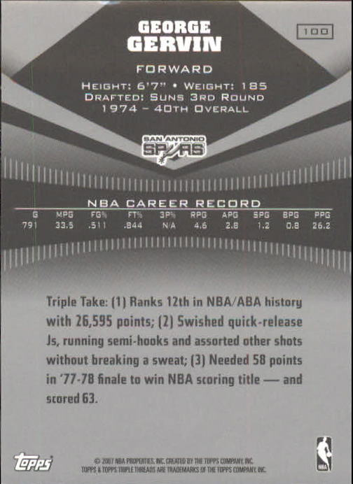 2006-07 Topps Triple Threads #100 George Gervin back image