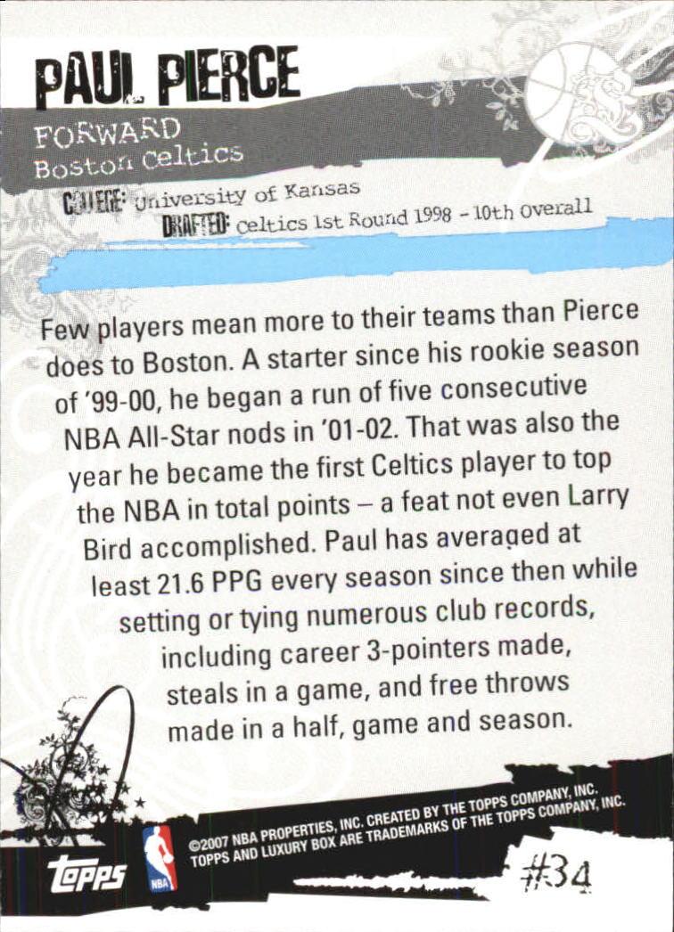 2006-07 Topps Luxury Box Green #34 Paul Pierce back image