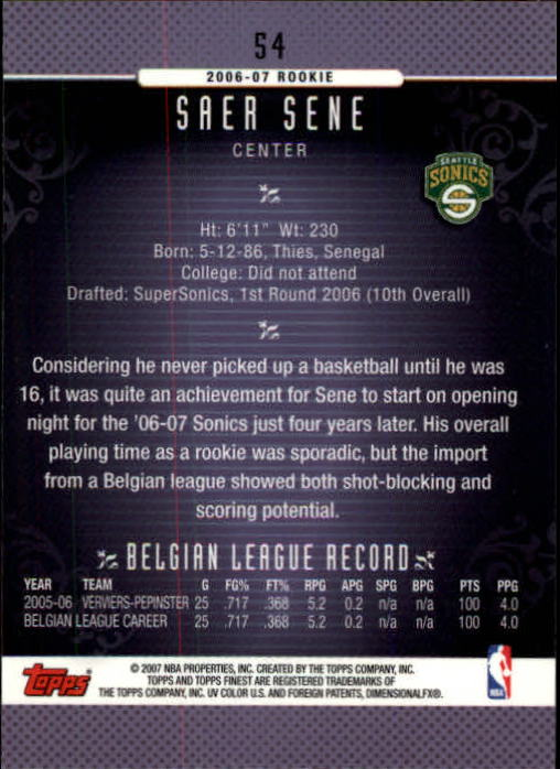 2006-07 Finest #54 Saer Sene RC back image