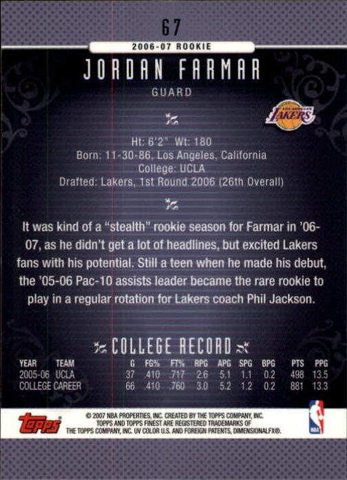 2006-07 Finest #67 Jordan Farmar RC back image