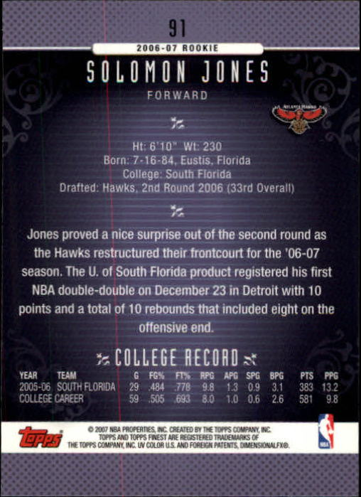 2006-07 Finest #91 Solomon Jones RC back image