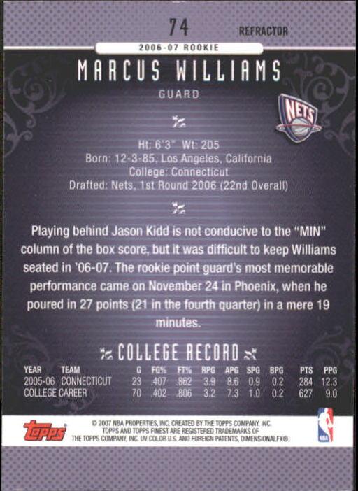2006-07 Finest Refractors #74 Marcus Williams back image