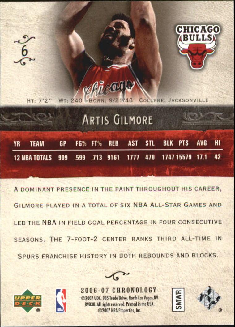 2006-07 Chronology #6 Artis Gilmore back image