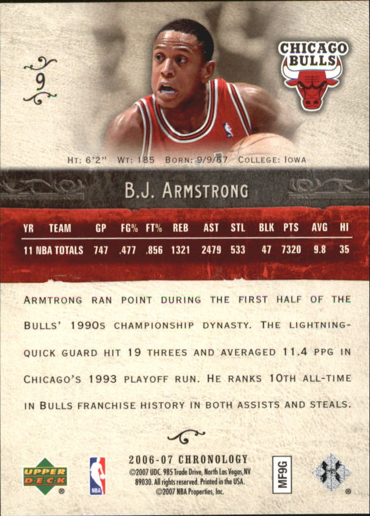 2006-07 Chronology #9 B.J. Armstrong back image