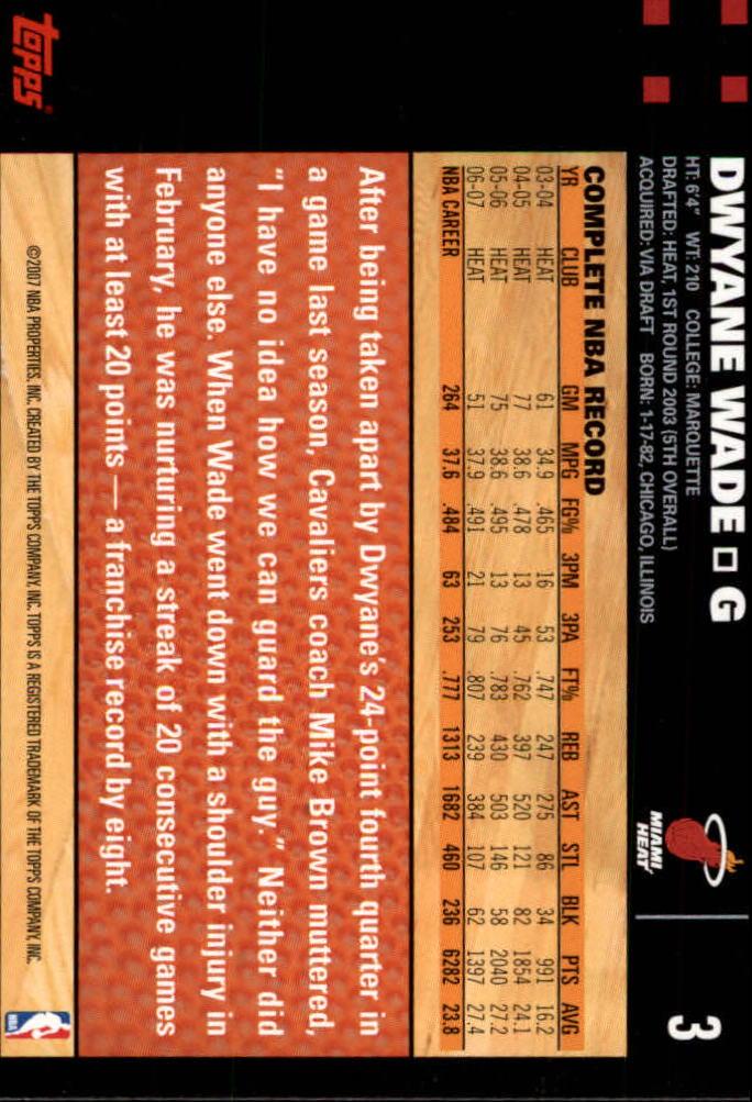 2007-08 Topps #3 Dwyane Wade back image