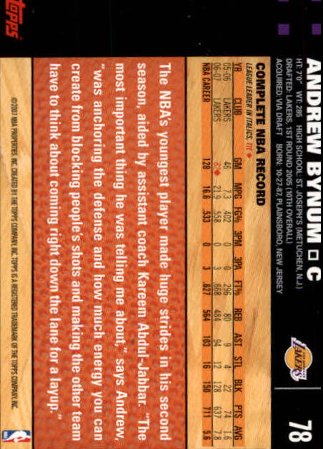 2007-08 Topps #78 Andrew Bynum back image