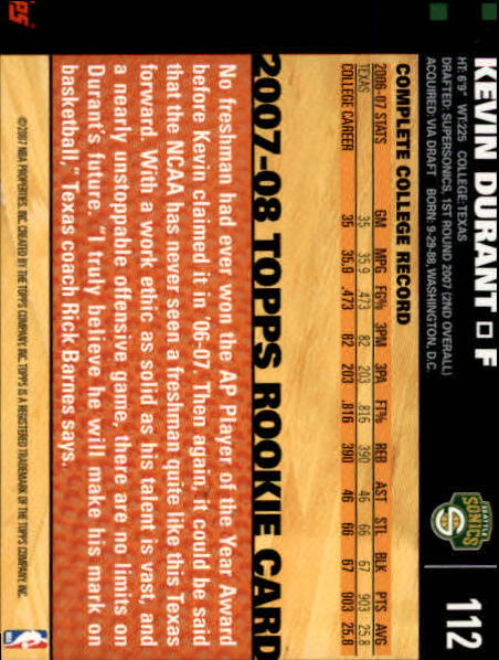 2007-08 Topps #112 Kevin Durant RC back image