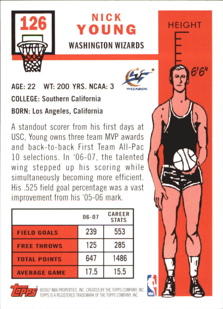 2007-08 Topps 1957-58 Variations #126 Nick Young back image