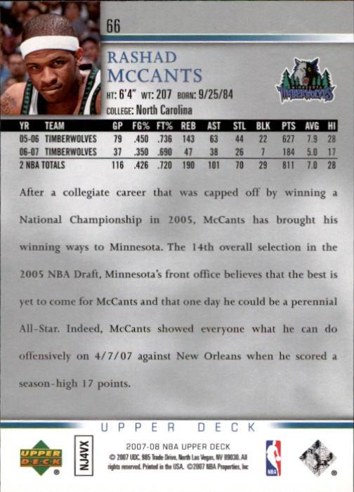 2007-08 Upper Deck #66 Rashad McCants back image