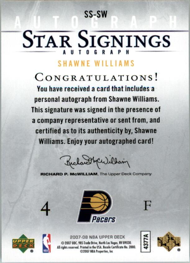 2007-08 Upper Deck Star Signings #SW Shawne Williams back image