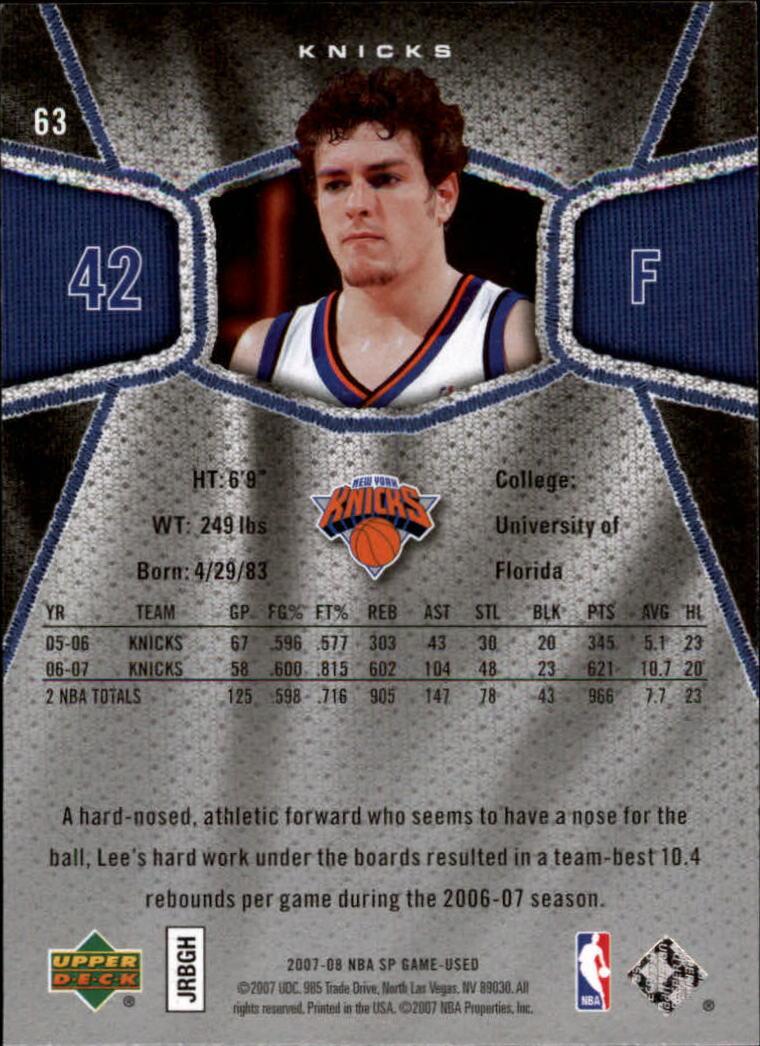 2007-08 SP Game Used #63 David Lee back image