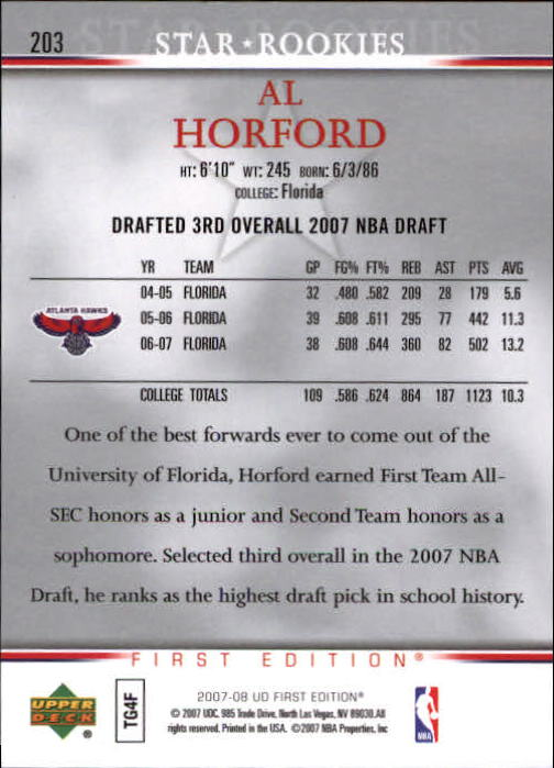 2007-08 Upper Deck First Edition #203 Al Horford RC back image