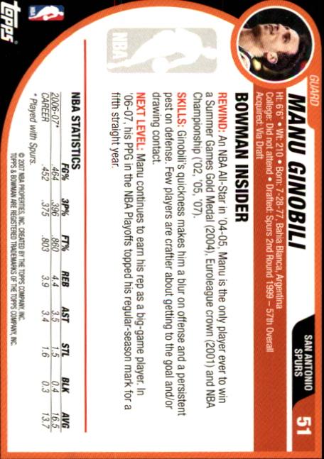 2007-08-Bowman-Basketball-1-110-Your-Choice-GOTBASEBALLCARDS thumbnail 97