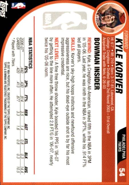 2007-08-Bowman-Basketball-1-110-Your-Choice-GOTBASEBALLCARDS thumbnail 103
